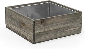 "CYS EXCEL Planter Box, Wood Planter, Wood Rectangle Window Box, Wood Planters with Removable Zinc Liner, Succulent Planter - 8 (1, H-4"" Open:12x12)"