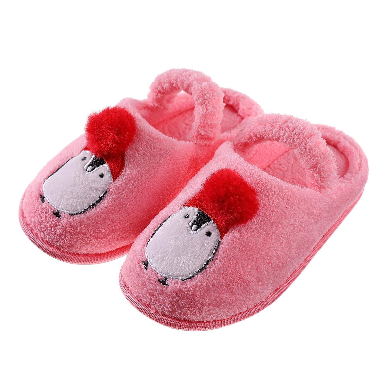 NOVCO Boys Girls Cute Animal House Slippers Waterproof Sole Fuzzy Bedroom Slippers for Kids