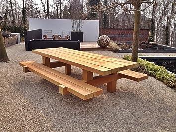 Casa Padrino Juego de Muebles de jardín Mesa rústica + 2 Bancos de jardín 180 x