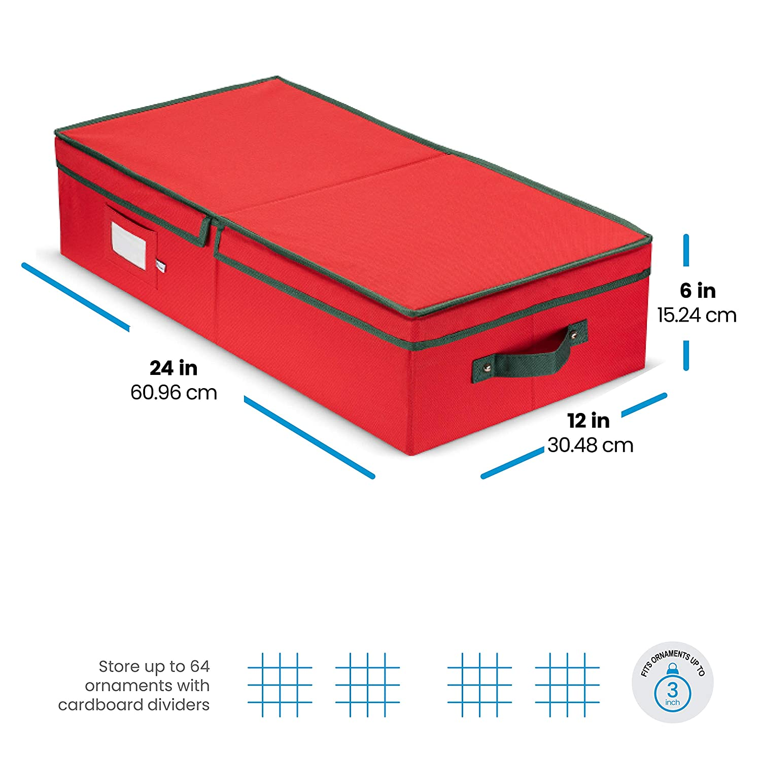 - 5 Year Warranty Sturdy 600D Oxford Fabric Stores up to 64 Standard Christmas Ornaments And Holiday Accessories Storage Container with Dividers Underbed Christmas Ornament Storage Box With Lide