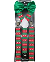 CTM Men's Solid Bow Tie with Christmas Suspender Holiday Set