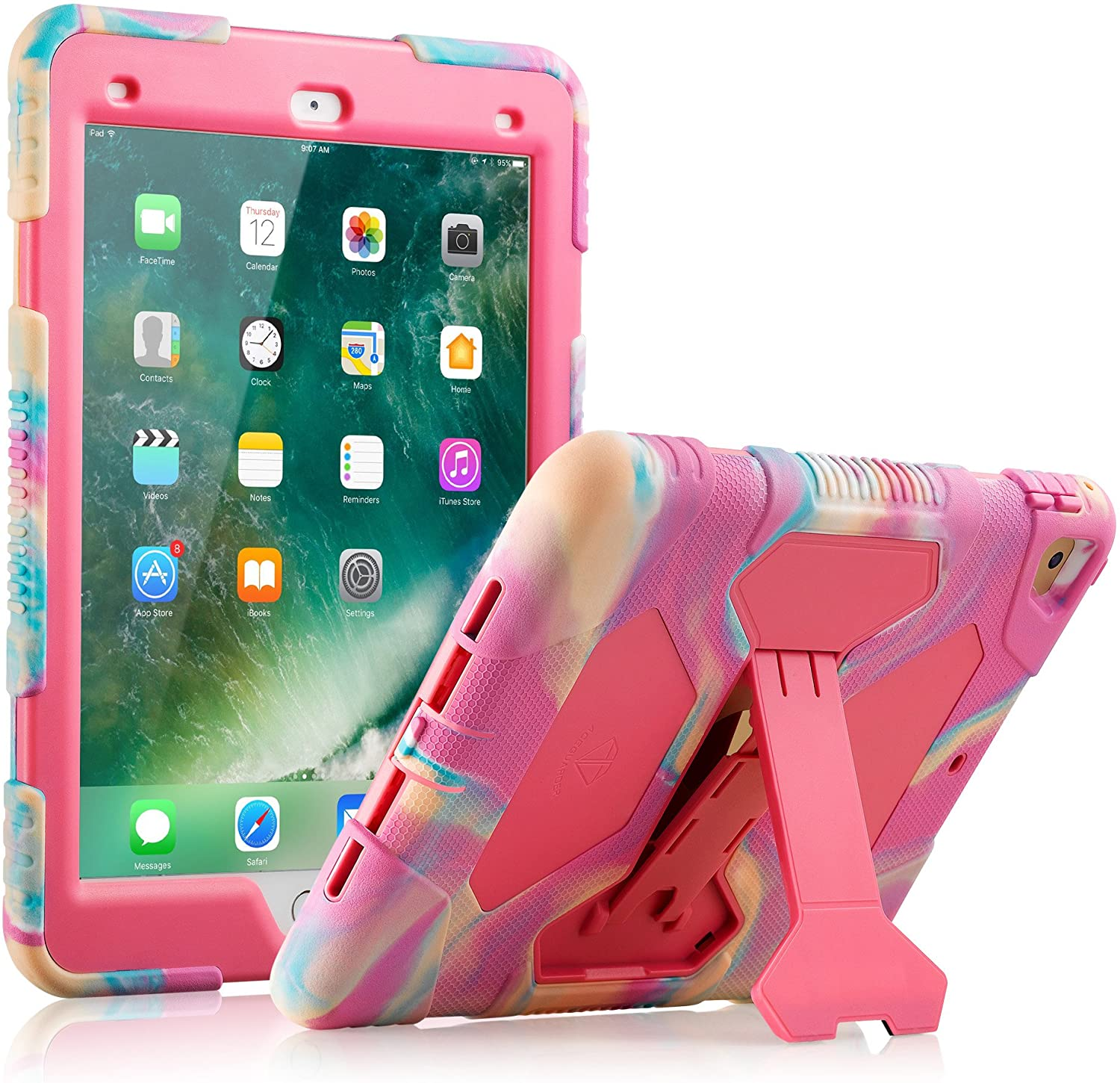 ACEGUARDER iPad 2017/2018 iPad 9.7 inch Case, Shockproof Impact Resistant Protective Case Cover Full Body Rugged for Kids with Kickstand for ipad 5 th/ipad 6 th Generation, Pink Camo/Rose