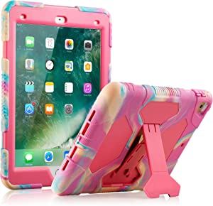 New iPad 9.7 2018/2017 Case, KIDSPR Lightweight Shockproof Rugged Cover with Stand Protective Full Body Rugged for Kids for New iPad 9.7 inch 2018/2017 (6th Gen, 5th Gen) (Pink Camo)