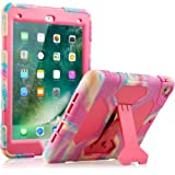 New iPad 9.7 2018/2017 Case, KIDSPR Lightweight Shockproof Rugged Cover with Stand Protective Full Body Rugged for Kids for New Apple iPad 9.7 inch 2018/2017 (6th Gen, 5th Gen) (Pink Camo)