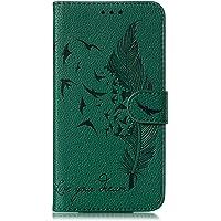 Galaxy S10 Plus ケース, OMATENTI PUレザー手帳型 ケース, 薄型 財布押し花 フェザー柄 スマホケース, マグネット開閉式 スタンド機能 カード収納 付き人気 新品, 緑