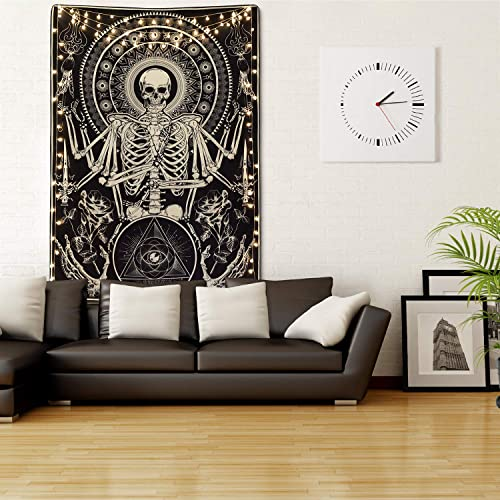 Skull Floral Tapestry Meditation Skeleton Tapestry Gothic Tarot Card Tapestry Cool Black Tapestry for Room 59.1 x 82.7 inches