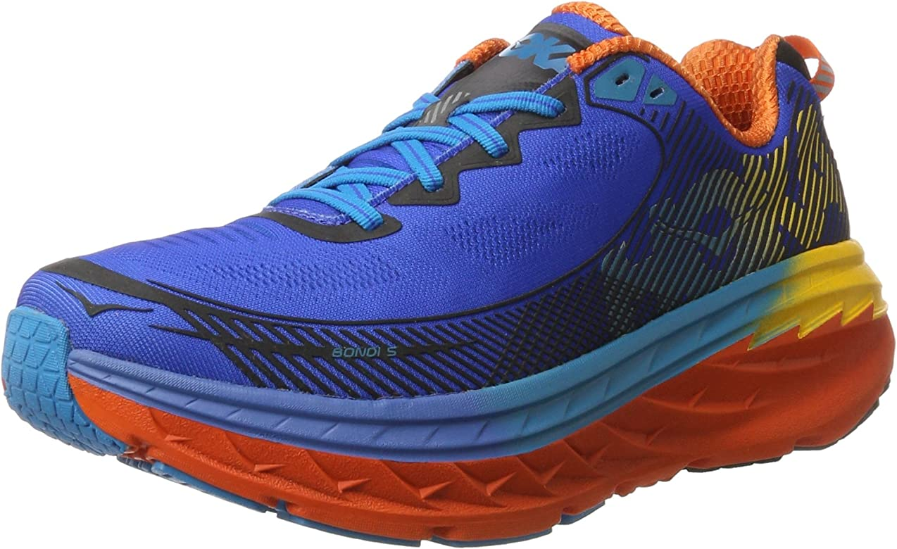 Hoka One One Bondi 5, Zapatillas de Running para Hombre, Azul (Blue/Red Orange/Gold Fusion), 43 1/3 EU: Amazon.es: Zapatos y complementos