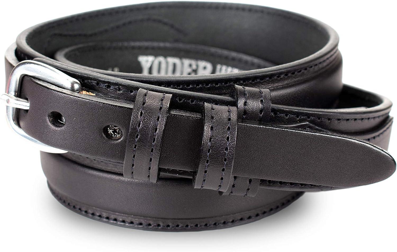 Men/'s Genuine Black.Brown leather Ranger style belt //5 yr warranty made in USA