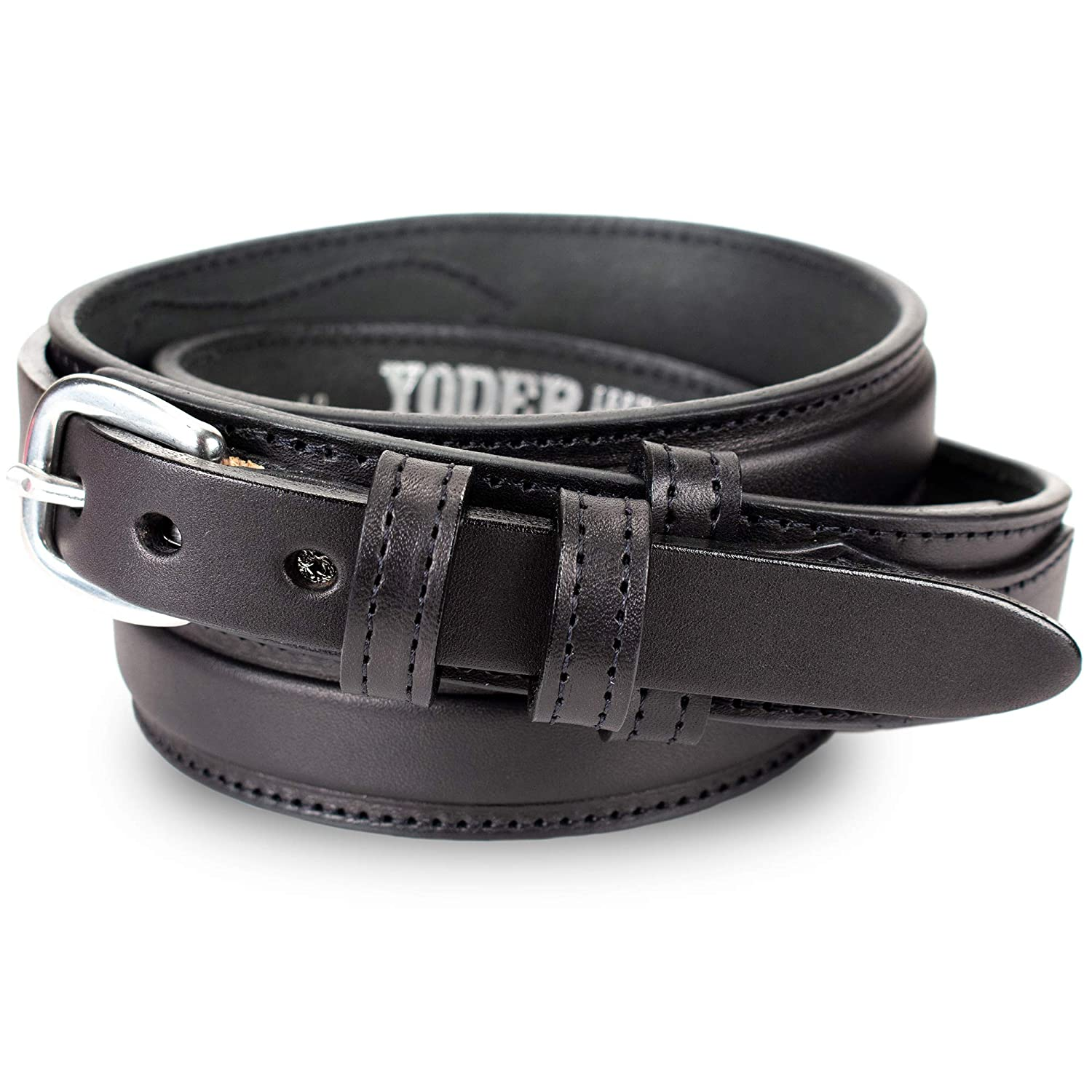 Black Men's English Bridle Leather Ranger Belt - 1 1 4  Taper to 3 4