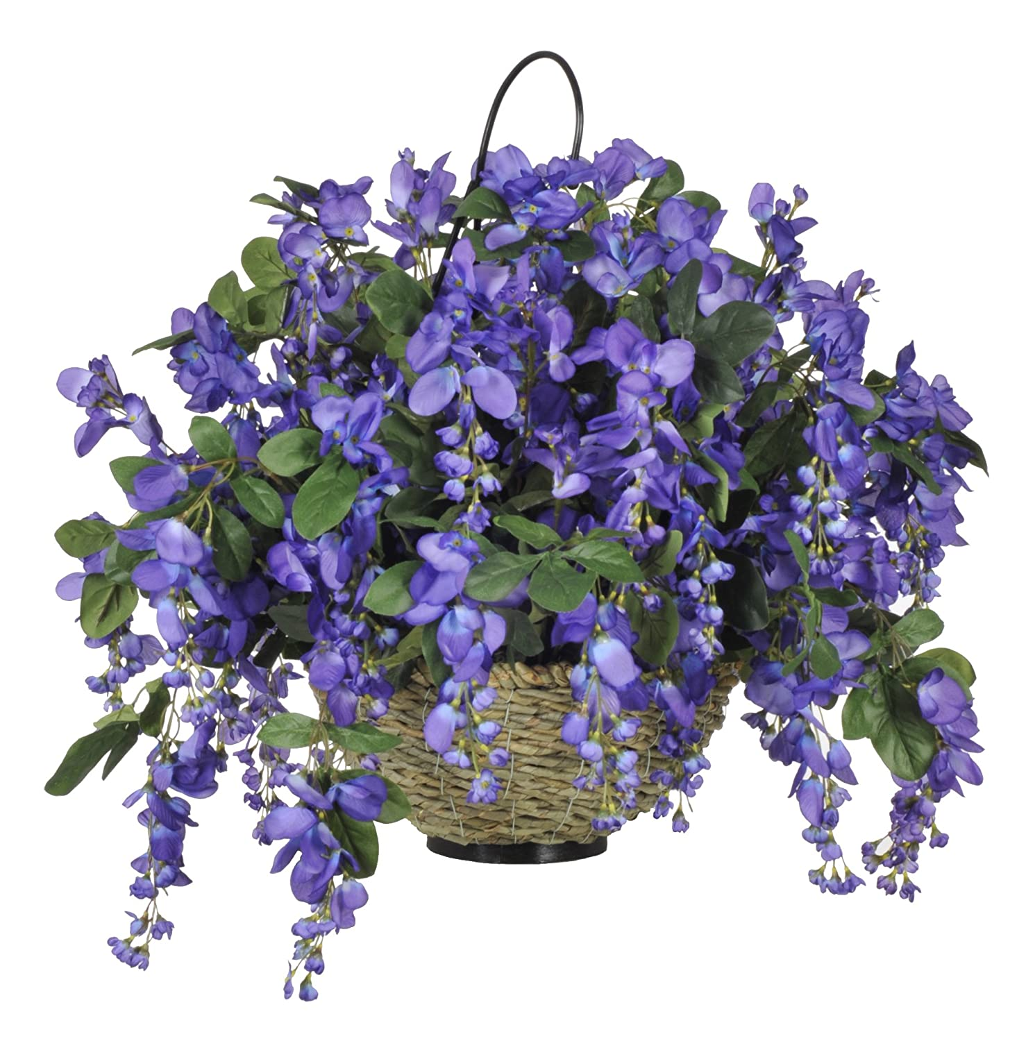 House of Silk Flowers Wisteria Hanging Basket, Violet/Blue