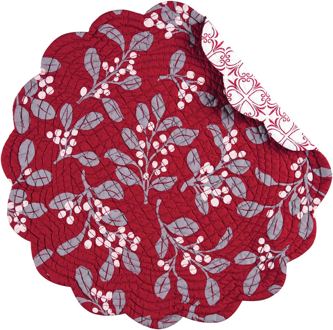 C&F Home Silver Mistletoe Round Cotton Reversible Machine Washable Placemat Set of 4 Round Placemat Red