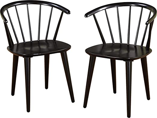 Target Marketing Systems Set Of 2 Florence Dining Chairs With Low Windsor Spindle Back Set Of 2 Black