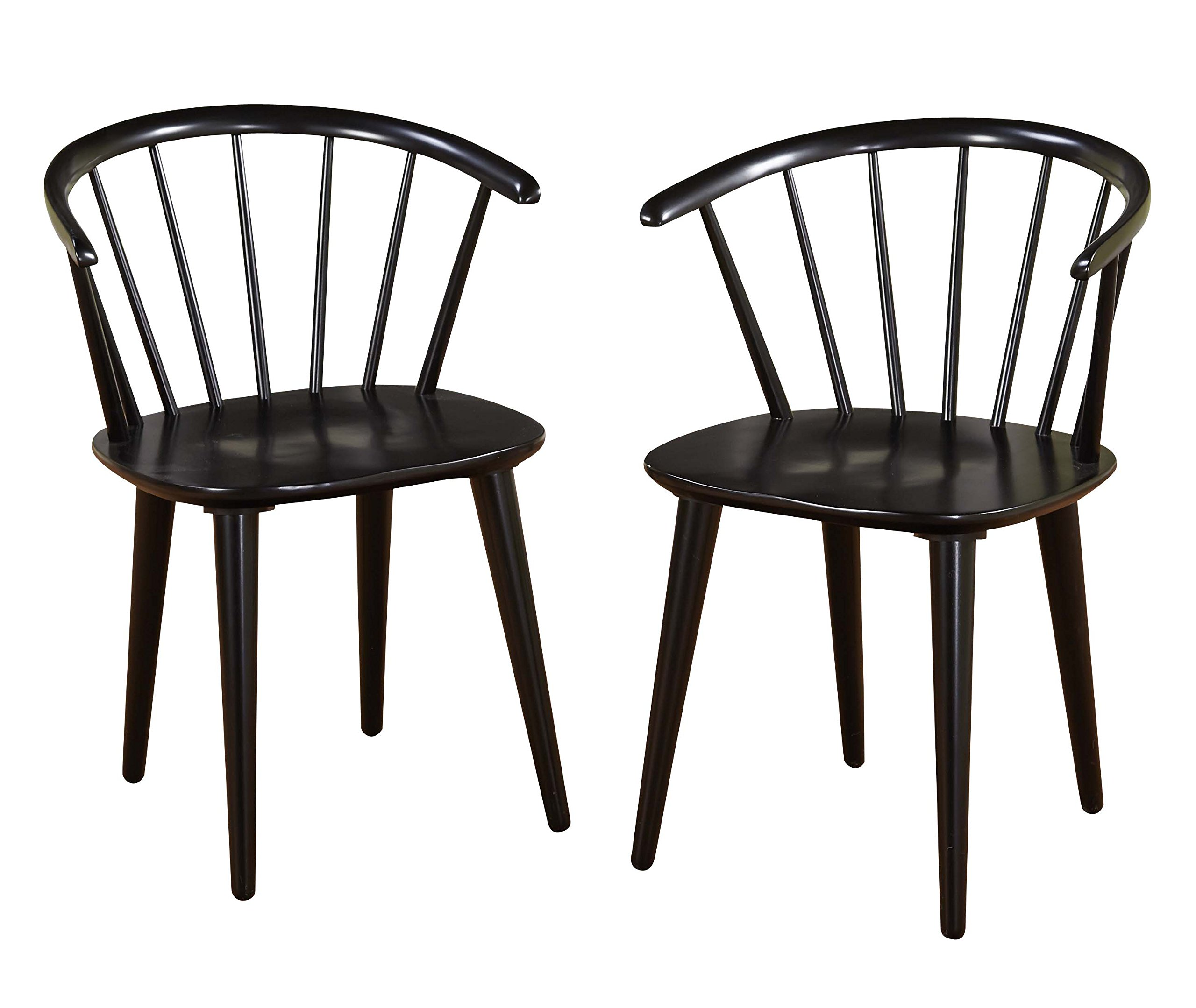 Target Marketing Systems Set of 2 Florence Dining Chairs with Low Windsor Spindle Back, Set of 2, Black by Target Marketing Systems