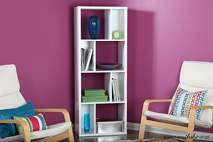Amazon.com: South Shore Reveal Shelving Unit with 8 Compartments ...