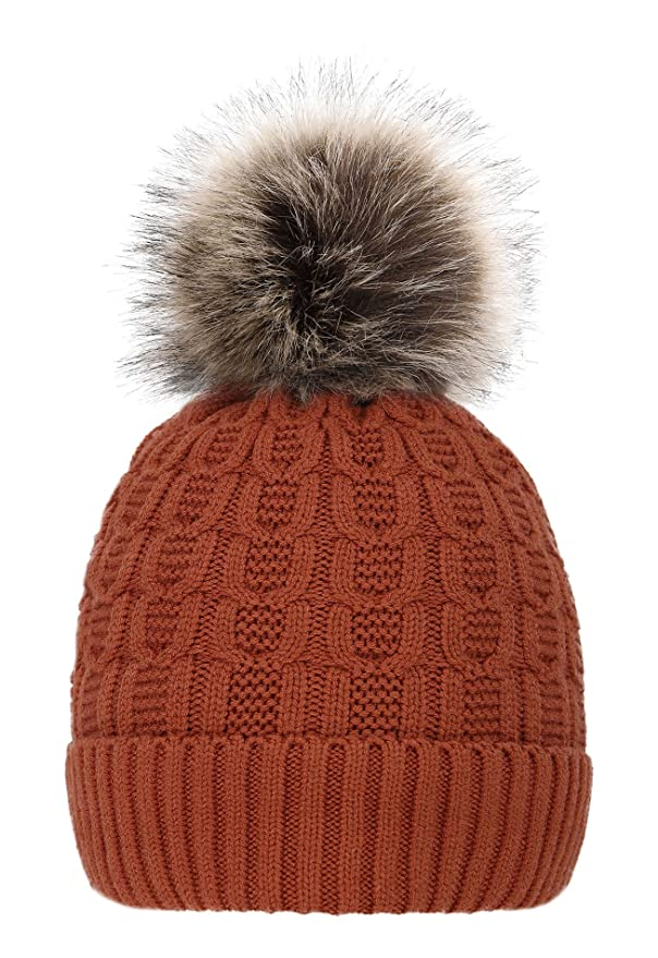 cebf1ac07ec 4sold Womens Girls Winter Hat Knitted Beanie Large Pom Pom Cap Ski  Snowboard Hats Bobble Gold ...