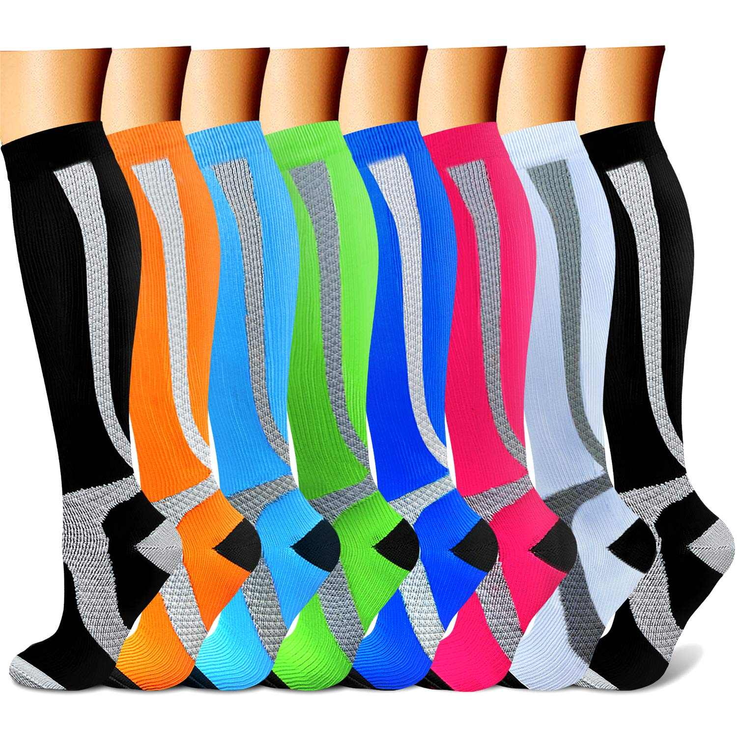 CHARMKING Compression Socks 15-20 mmHg is BEST Graduated Athletic & Medical for Men & Women Running, Travel, Nurses, Pregnant - Boost Performance, Blood Circulation & Recovery(Small/Medium,Assorted20)