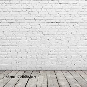 Allenjoy 8x8ft Grey Brick Wall with Wood Floor Photographic Fabric Background Adult Family Photo Background Standing Shooting Backdrop Portrait Photography Photoshoot Props