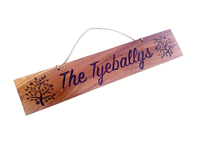 Personalised Wooden Sign Tree Design Hand Burned Pyrography Wood