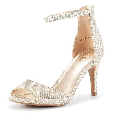 77b67d72eb5 DREAM PAIRS Women s EILEENA-S Shine Gold Peep Toe Stiletto Ankle Strap Pump Heel  Sandals
