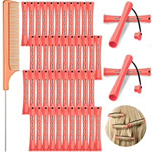 48 Pieces Hair Perm Rods Set Cold Wave Rods Plastic Perming Rods Hair Curling Rollers 0.51 Inch/ 1.3 cm with Stainless Steel Rat Tail Comb Pintail Comb for Hairdressing Styling Tools, Pink