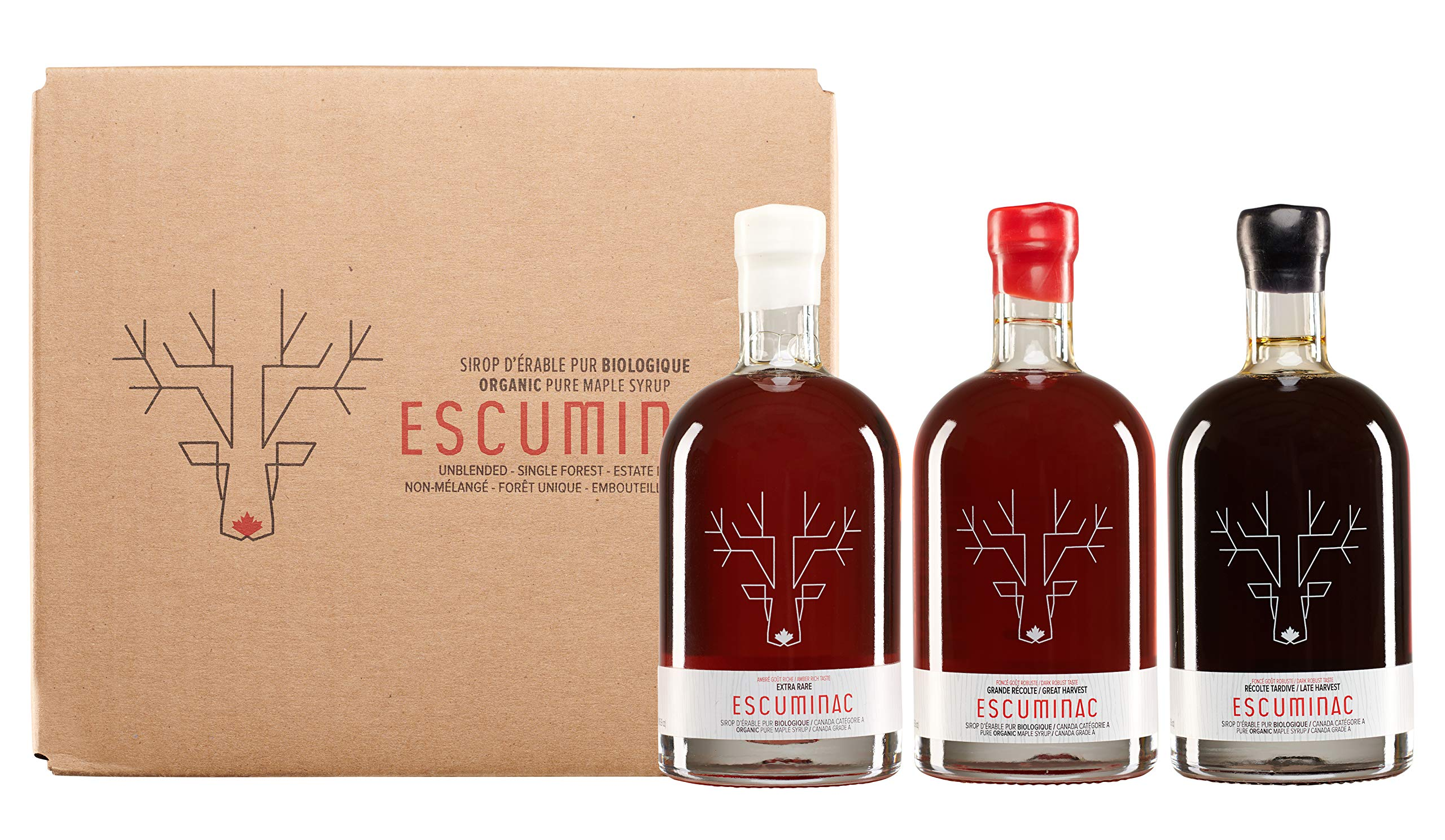 Award Winning Escuminac Canadian Maple Syrup Gift Bundle Grade A Including Our Extra Rare, Great Harvest and Late Harvest - Pure Organic Unblended Single Forest - 3 X 16.9 fl oz (500 ml) - Easter Gift by Escuminac (Image #2)