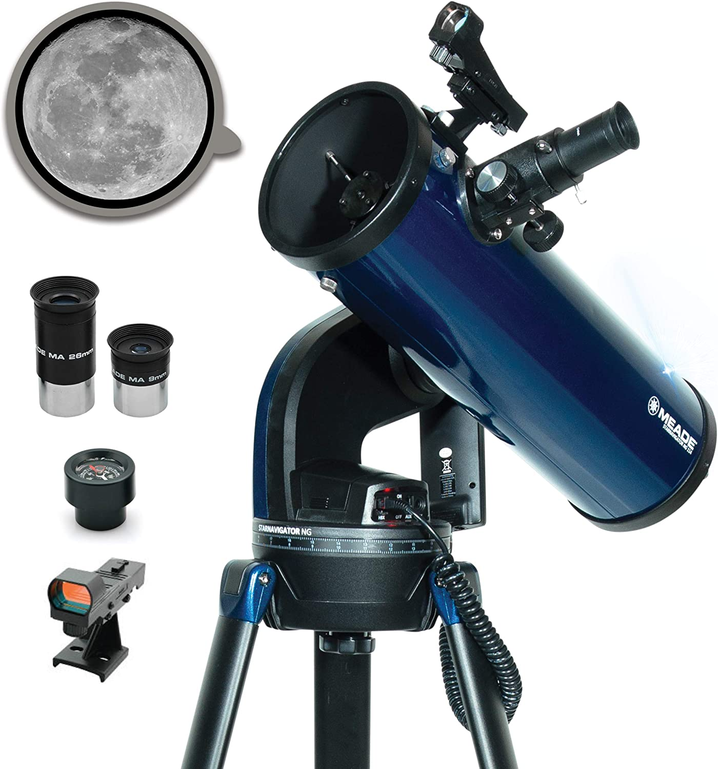Family Backyard Activities Mount /& Tripod Included StarNavigator NG 114mm Reflecting Computerized GoTo Astronomy Telescope w//AudioStar/® 30,000+ Object-Database /& Audio Tours Meade Instruments