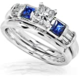 3/4 Carat Blue Sapphire & Diamond Wedding Rings Set in 14k White Gold - Size 8.5