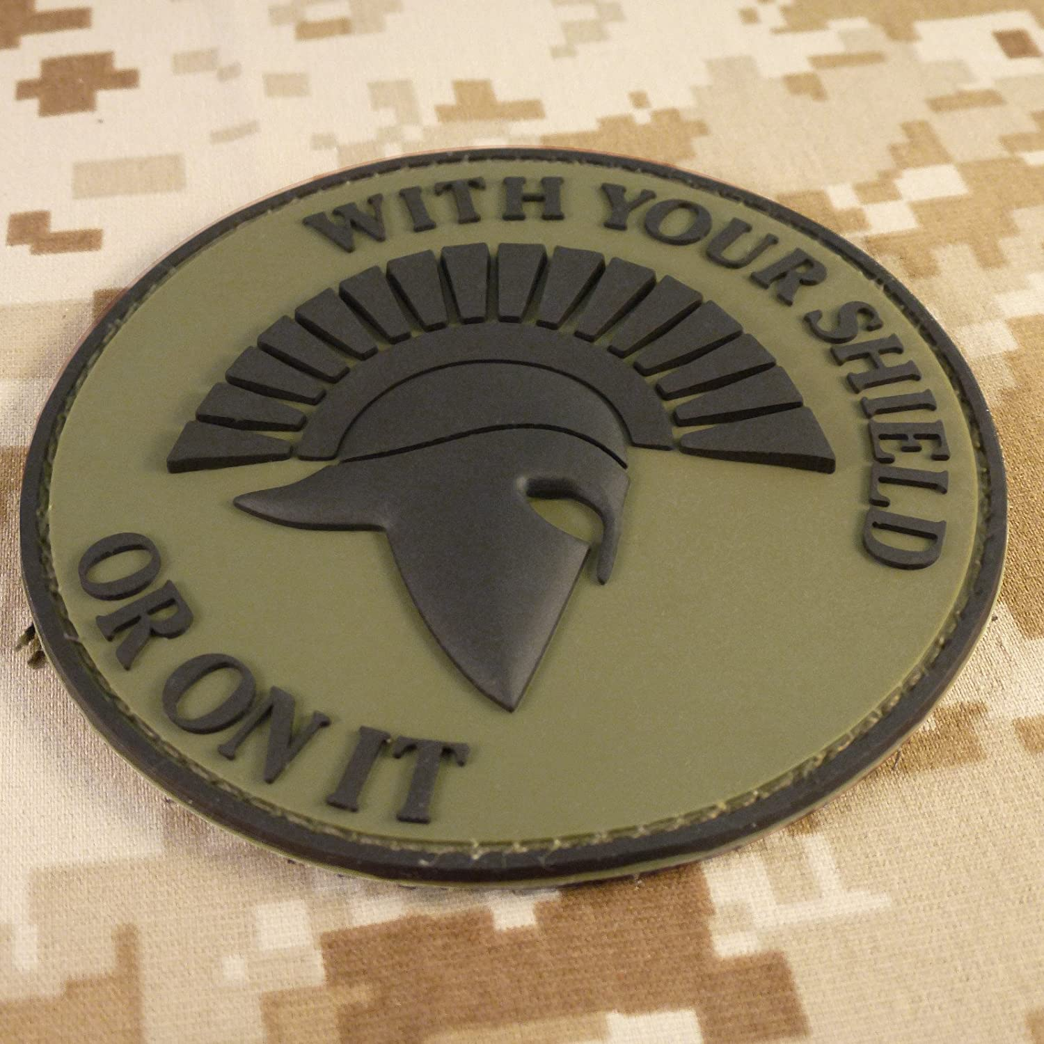 Olive Drab Spartan Helmet WITH YOUR SHIELD OR ON IT OD Green Morale