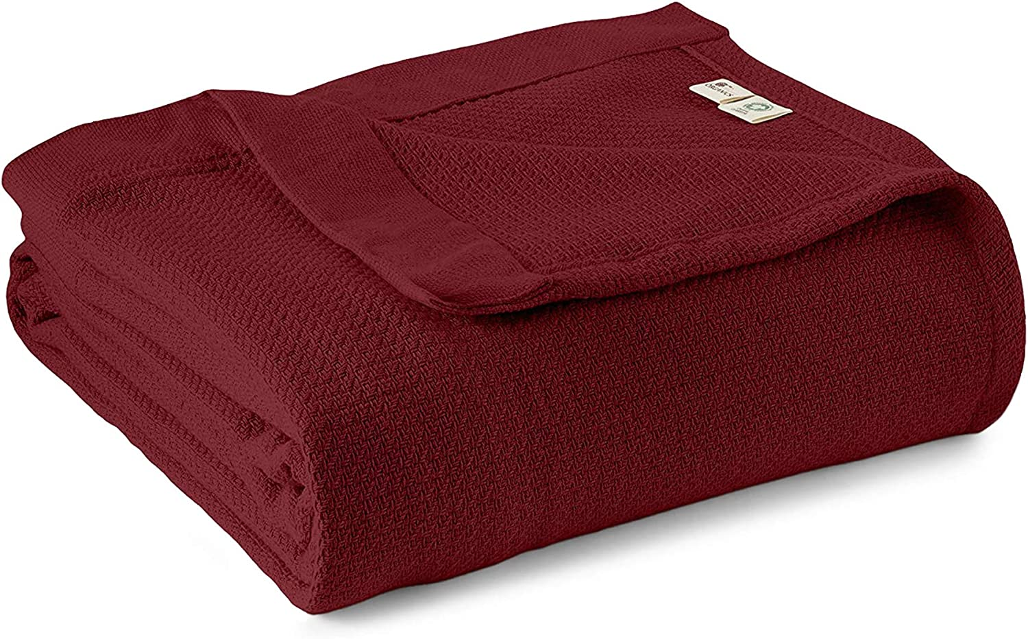 Whisper Organics 100% Cotton Blanket - Soft, Woven Cotton Blanket - Organic Cotton Blanket - Breathable Blanket for Bed - GOTS Certified Bed Blanket, 90