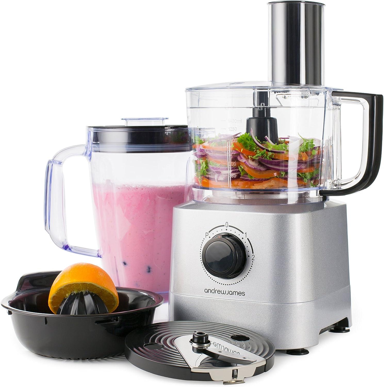 Andrew James – Robot de cocina en plata con 1,8 L Blender Jarra – Incluye verduras escofina de, tabla de cortar y patatas fritas de cuchillas y exprimidor accesorio: Amazon.es: Hogar