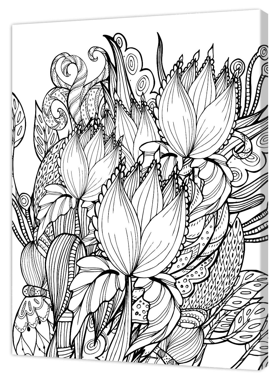 Bianco//Nero Pintcolor 9106 Telaio con Tela Stampata da Colorare 40 x 50 x 3.5 cm 100/% Made in Italy Legno di Abete; Cotone