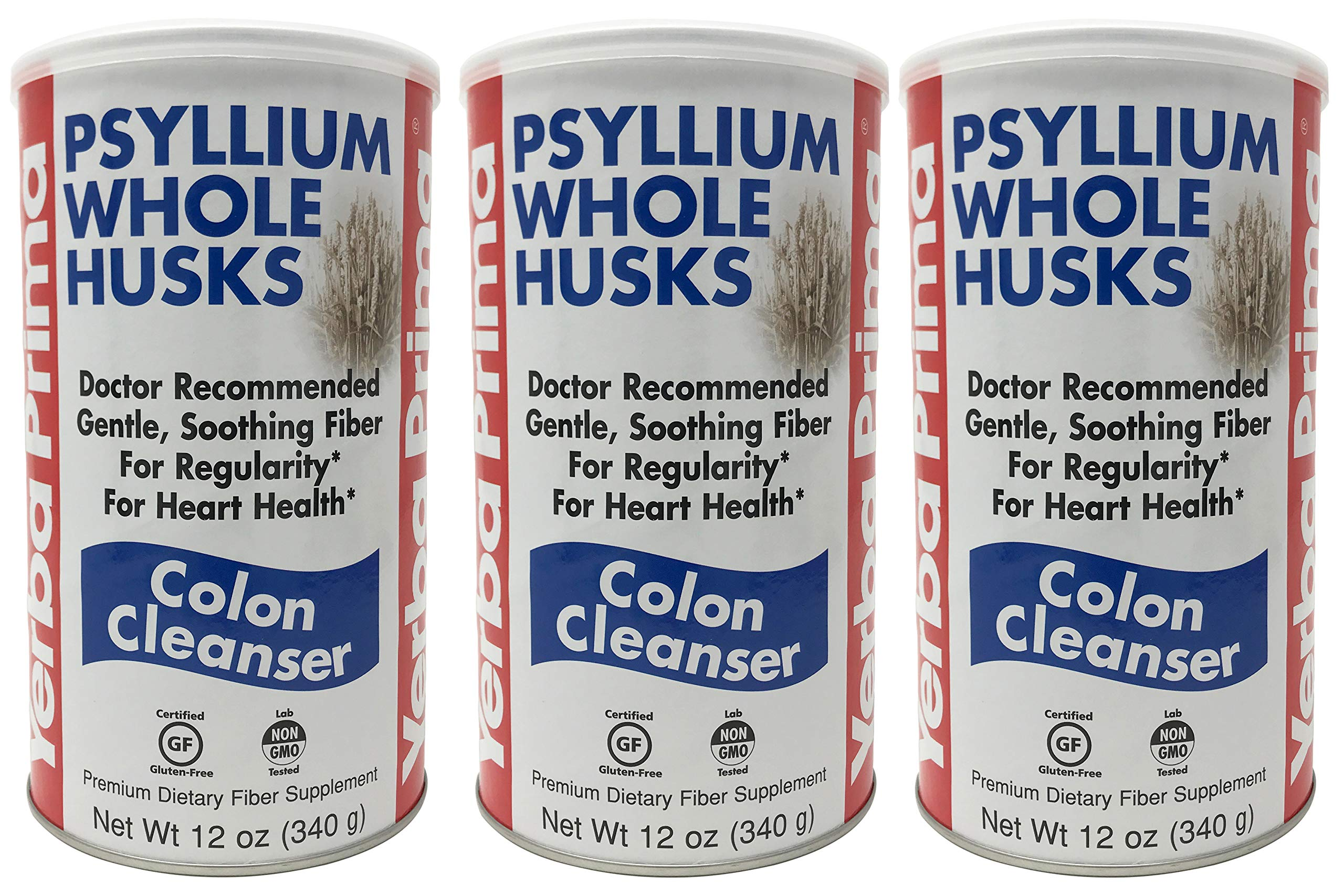 Yerba Prima Psyllium Whole Husks Colon Cleanser, 12 Ounce (Pack of 3)