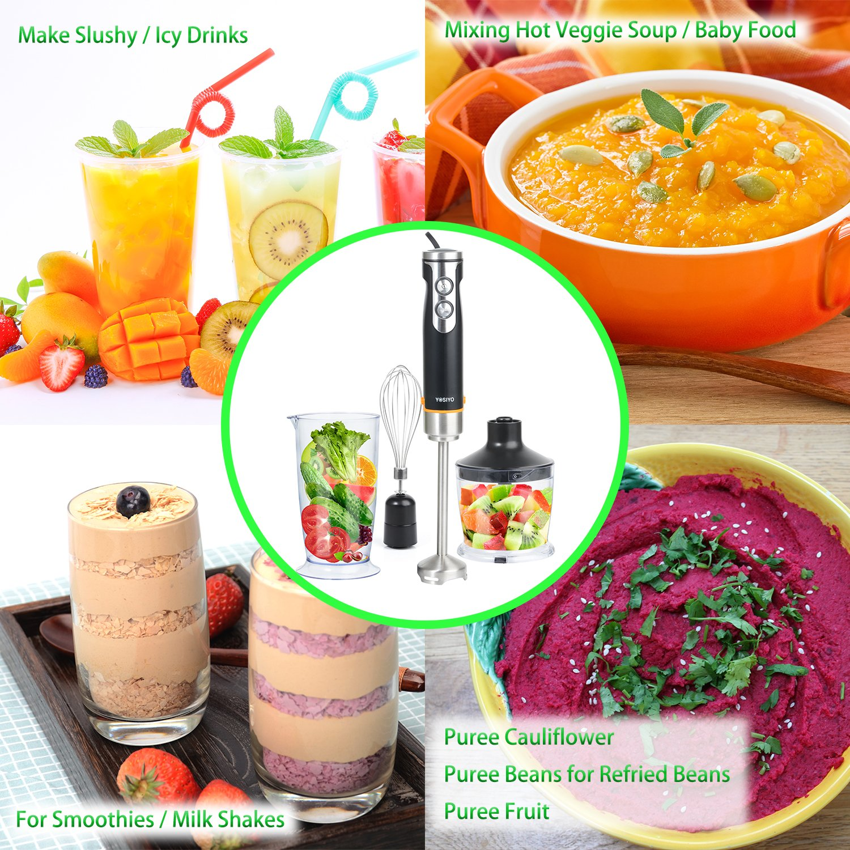Eléctrico Kit de batidora de mano 3 en 1 con picadora 500 ml, 700 ml medición taza y batidor de varillas de fijación para sopa, color crema y Baby Food, ...