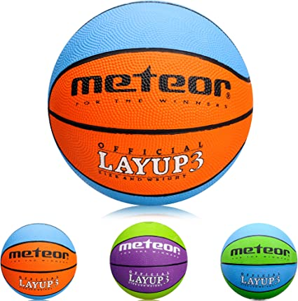 meteor Balón Baloncesto Talla 3 Pelota Basketball Bebe Ball Infantil Niño Balon Basquet - Baloncesto Ideal para los niños y jouvenes para Entrenar y Jugar - Tamaño 3 Layup (#3, Azul/Naranja): Amazon.es:
