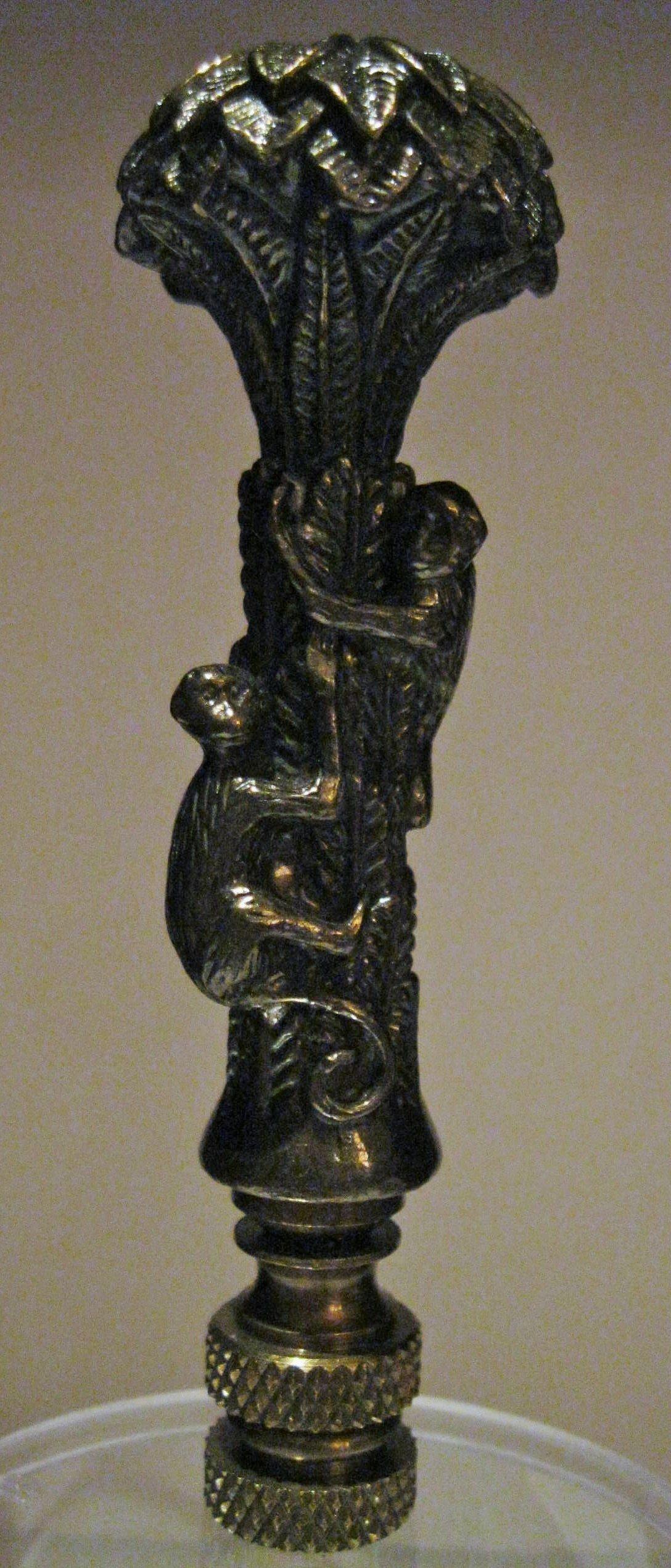 Monkeys in a Palm Tree Lamp Finial- Bronze - 3.5 Inch