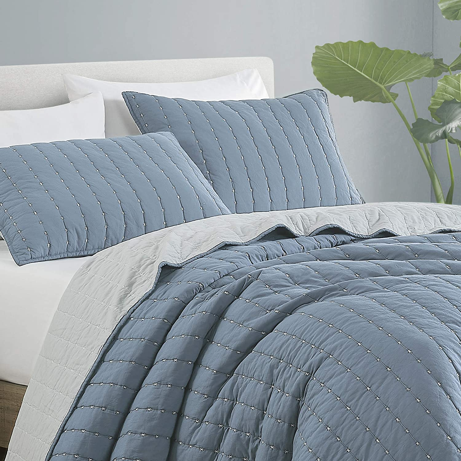 SHALALA NEW YORK Reversible Cotton Quilt Set - Garment Washed Ultra Soft - Breathable Lightweight X-Stitching Quilt with 2 Quilted Pillow Shams for All Season - Machine Washable