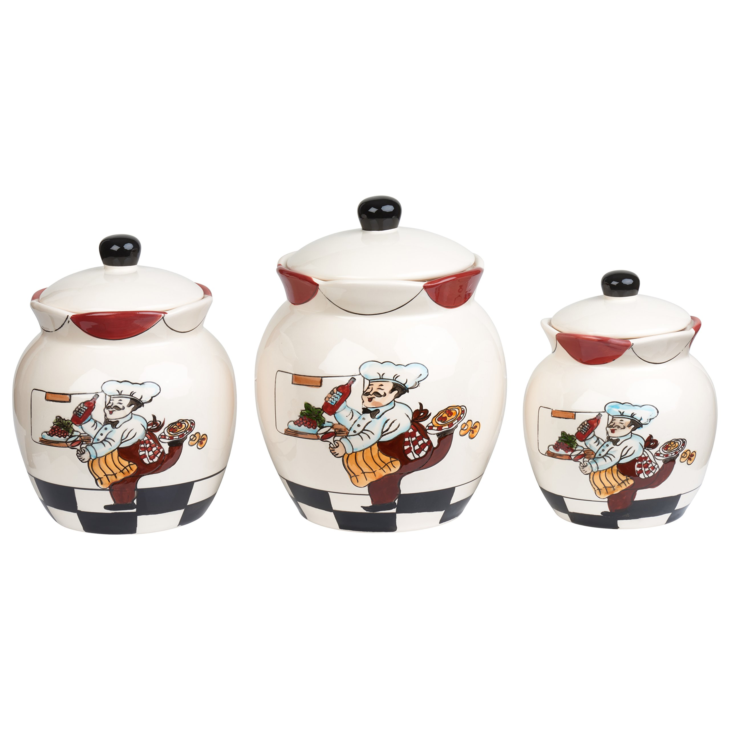 Lorren Home Trends C2069 Canister Set Ceramic 3 Piece Deluxe