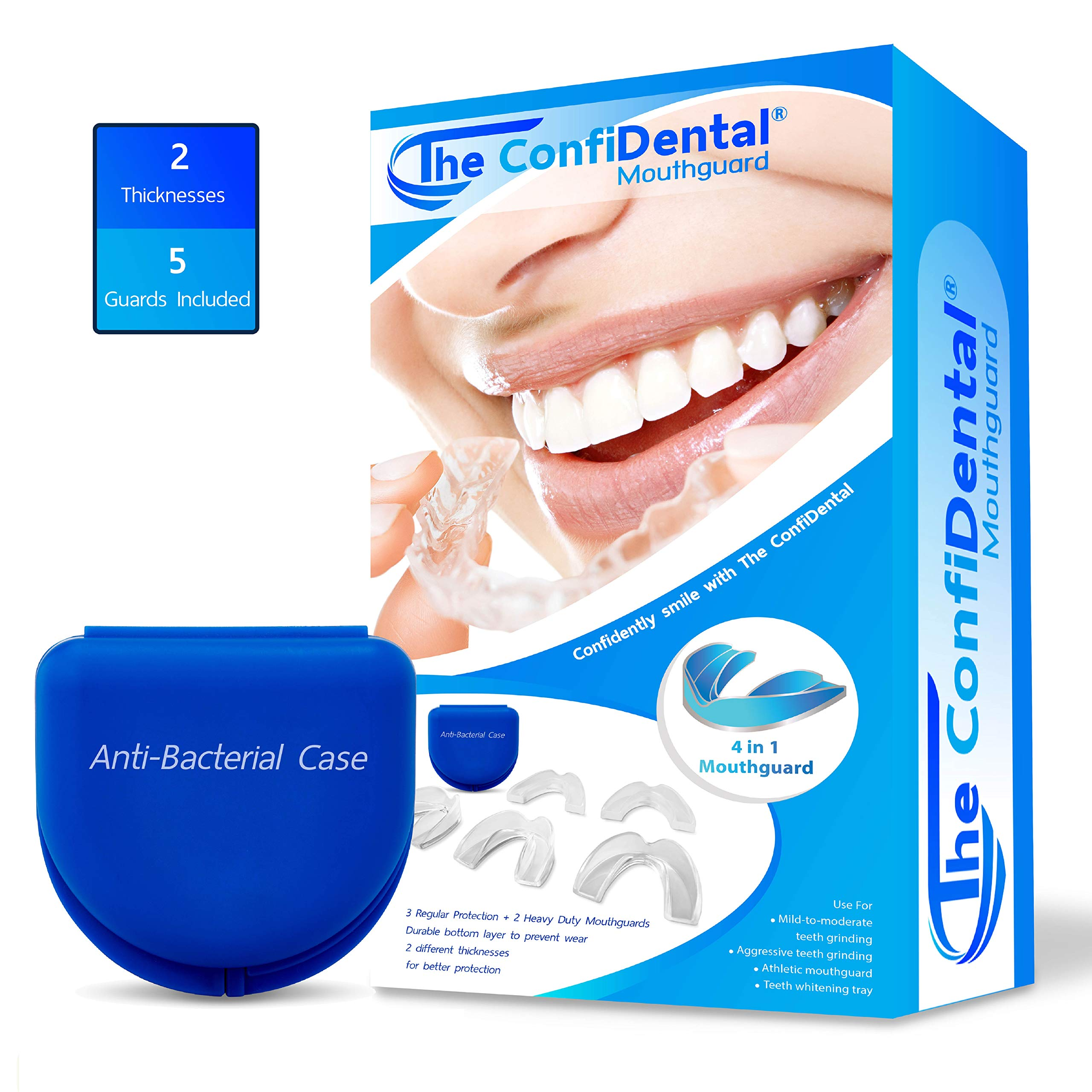 The ConfiDental – Pack of 5 Moldable Mouth Guard for Teeth Grinding Clenching Bruxism, Sport Athletic, Whitening Tray, Including 3 Regular and 2 Heavy Duty Guard (3 (lll) Regular 2 (II) Heavy Duty)
