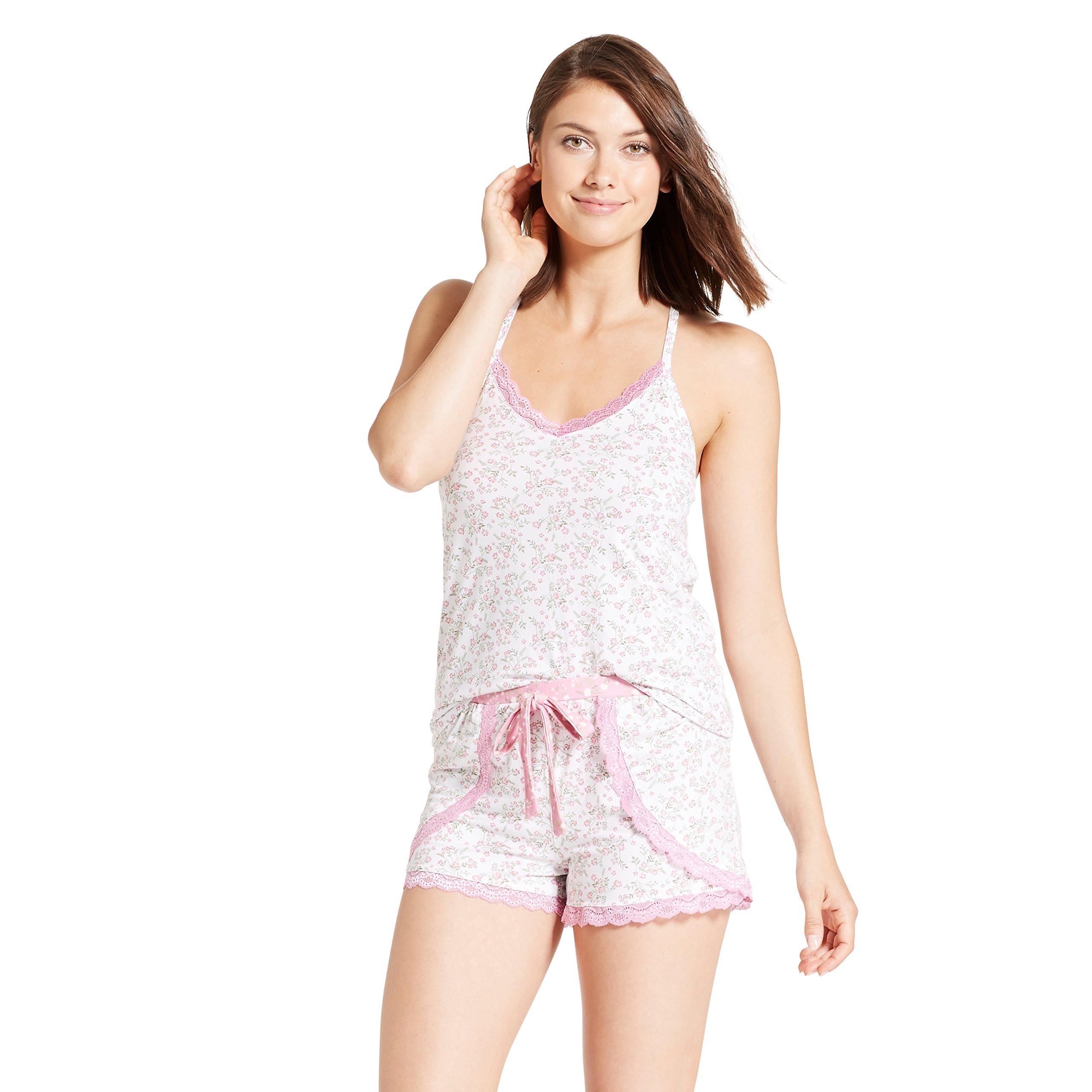 Nanette Nanette Lepore Womens Racerback Shirt Elastic Waist Shorts Pajama Set Spring White Large by Nanette Lepore (Image #1)