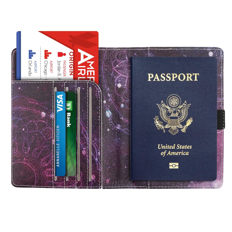 Carta di Credito Custodia Protettiva di Similpelle da Viaggio per Documenti Tessere Denim Nero /& Marrone MoKo Porta Passaporto con Tecnologia RFID Anti-furto