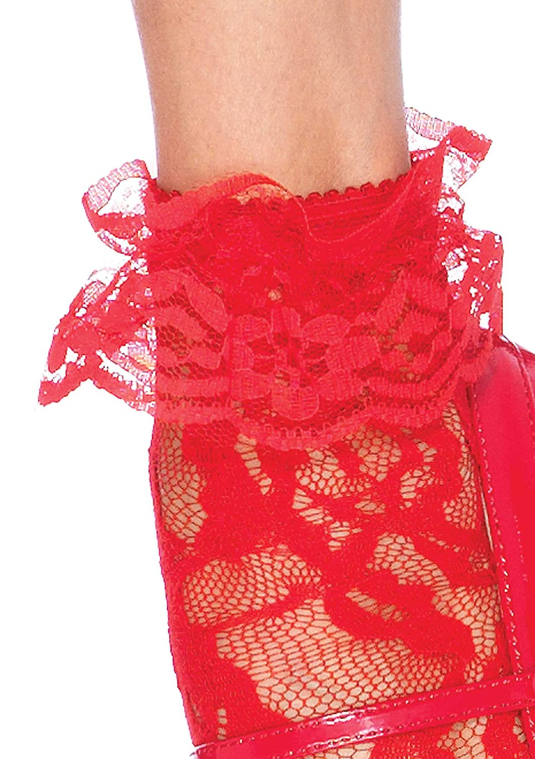 Leg Avenue Womens Ruffle Cup Lace Anklet Socks