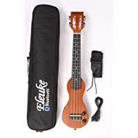Bluetooth EleUke Solid body electric silent practice Concert size travel ukulele (Natural)
