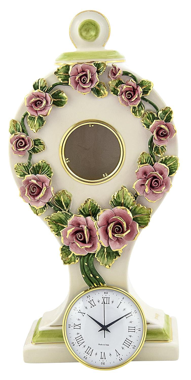 CERAMICHE DARTE F.L ORGIA OROLOGIO Rosette Table Clock Stand Clock Artistic Ceramic Baroque 24k Gold Made Italy CERAMICHE D/'ARTE F.L ORGIA
