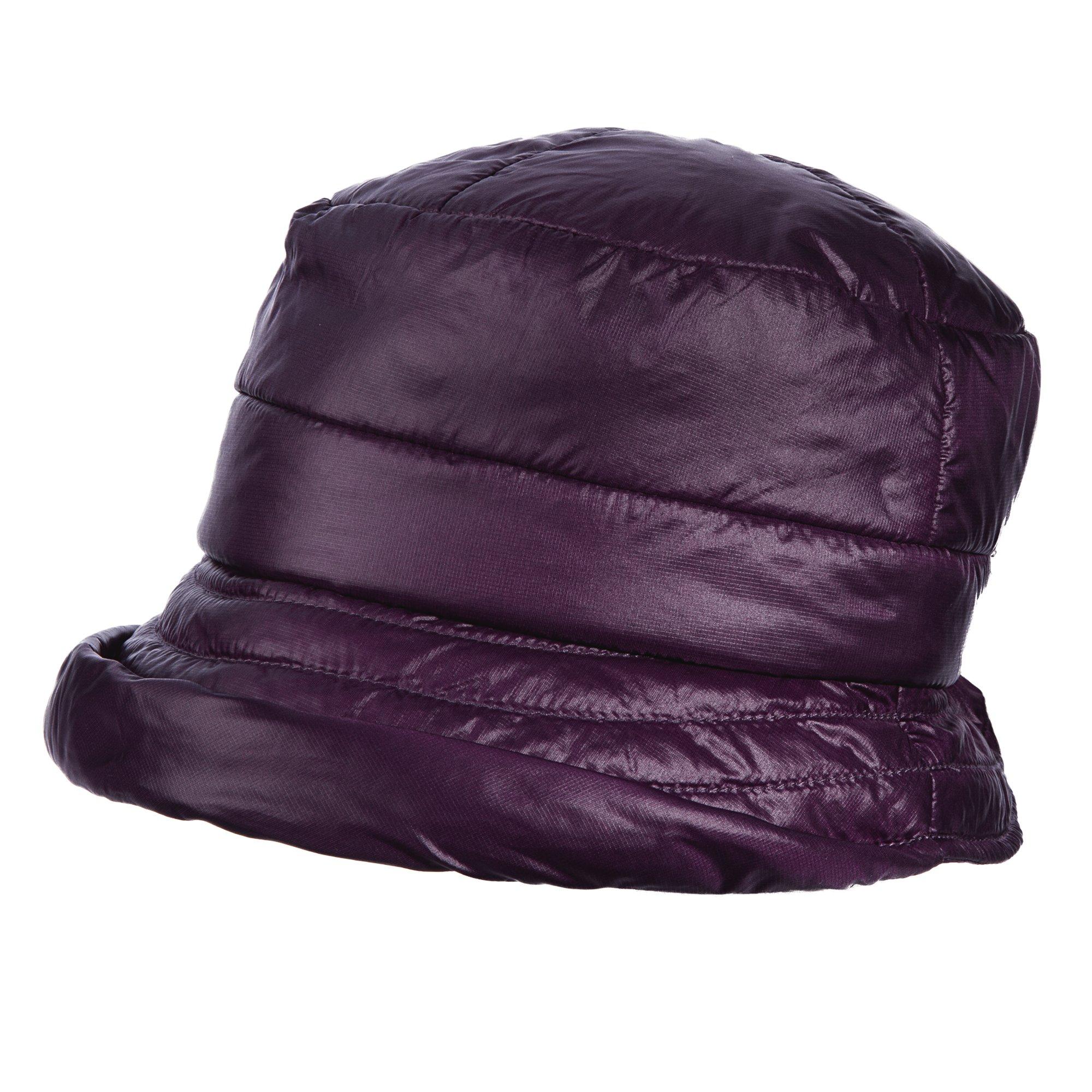 SCALA Womens Puff Cloche Fleece Rain Hat (Purple)