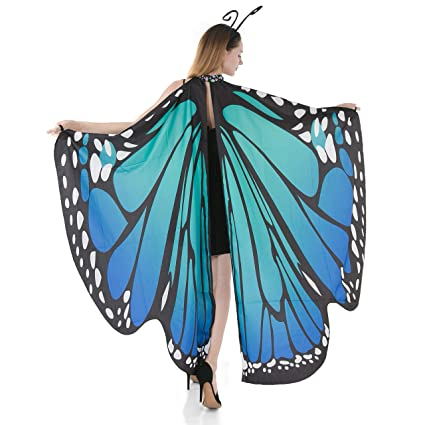 Danzcue Adult Soft Blue Butterfly Wings Dance Costume Accessory