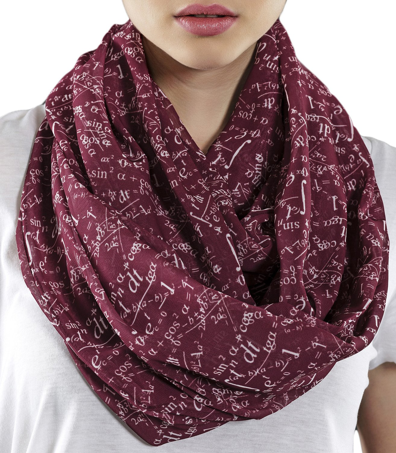 Etwoa's Claret Red Mathematics Infinity Scarf Circle Geek Scarf