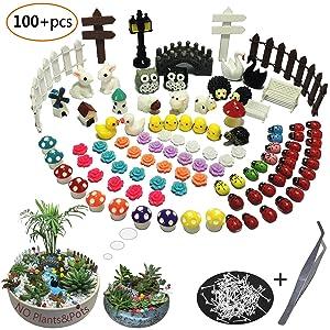 Aubasic 100 Pieces Miniature Garden Ornament Kit Set for DIY Fairy Garden Mini Bonsai miniascape,Potted Landscaping, Window Display,Dollhouse and Plant Decoration