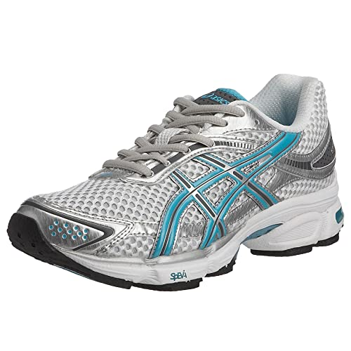 06afad8a28 Asics Women's Gel Stratus Running Shoe White/Turquoise Storm T9A6N/0141 7.5  UK