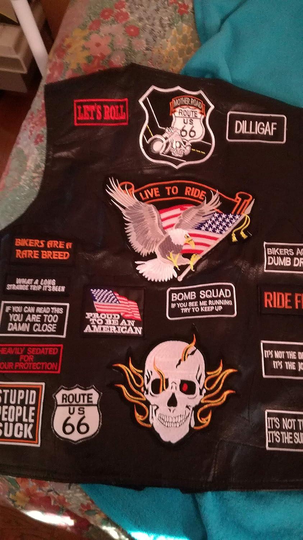 L Cuir Noir Veste Gilet Homme Biker USA Patch Riders Easybiker Buffalo Leather