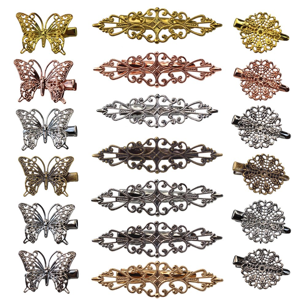 Vintage Hair Clips 19 Pack Hairpins Hair Barrettes Butterfly Flower Shape Hair Clips Headwear for Women Girls, 18 Pieces (Color 2) Erlvery DaMain